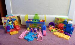 """3 """"almost complete"""" sets of Play Doh tools/building gear. Well-kept and clean... no play doh compound is included; add your own fresh play doh and get creative!"""