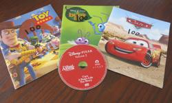 3 Disney read aloud books (Cars, Toy Story and Bugs Life) and 1 cd with all three stories on it. Great for a travel item or just at home. In good condition. CD works well. Selling on other sites. East end pu.