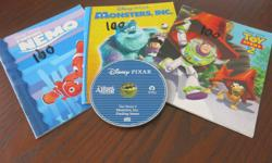 3 Disney read aloud books (Cinderella, Toy Story 2, Monsters Inc., Finding Nemo) and 1 cd with all three stories on it. Great for a travel item or just at home. In good condition. CD works well. Selling on other sites. East end pu.