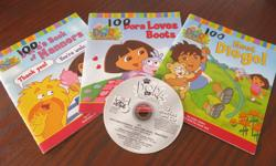3 Dora read aloud books and 1 cd with all three stories on it. Great for a travel item or just at home. In good condition. CD works well. Selling on other sites. East end pu.