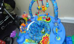 Can be changed from a floor mat to the saucer to a table. Folds for easy storage or travel. Still have all pieces. No rips just a small permanent marker line on saucer. Saucer can be raised or lowed to 3 different hights. 3 toys light up and make