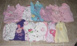 13 PJ 14 Onesies 1 Mini set 1 Roots set 6 pants / 1overall 9 sweaters 3 skirts 15 sweaters 1 chrismas PJ 1 bikini 4 hats 5 dresses and mores !!!! NO STAIN :) Have more pictures if you whant!!!