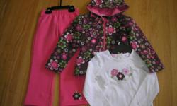 $ 10.00  for the 3 piece set. No Smoking, No pet Home. Jacket has cotton knit lined hood, elastic waist & Zip Front. Cotton Shirt has Embroidered flowers that match the jacket. Pants have elastic waist and Embroidered flower at ankle. Nearly new