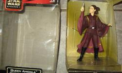 For sale Star Wars Episode 1 8'' figures Obi-Wan Kenobi with glow in the dark lightsaber, Qui-Gon Jinn with glow in the dark lightsaber and Queen Amidala. .Not taken out of the box except for picture or trade for super hero action figures