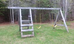 3 place PT swingset. Come take it apart and it's yours. I have stored the 3rd swing for it. Hope your kids enjoy it as much as mine did! Located in North Bedeque. Will require some new swing chain support hardware. This set will support a slide and a