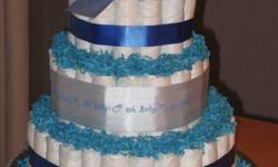 3 tier Blue Oh Boy Diaper Cake  Included in this diaper cake are:  Over 100 Pampers Baby Dry diapers ? size 1   A Pampers diaper bag hard plastic wipe container and wipes  A large bottle of Baby?s Life infant shampoo  All decorations as seen.  This has