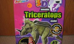 still in original packaging, 3D Triceratops movable model.