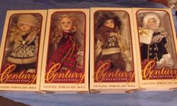 4- Century Collection Porcelain Dolls New in the boxes These dolls are from a collector never opened and come with letter of authenticity Each doll is beautifully fashioned in genuine, hand painted porcelain Display stand included in the box Dolls stand