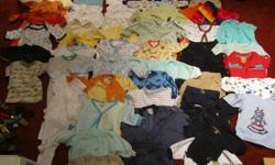 59 pieces of boys clothing.  Mostly 3-6 months.  A few smaller, a few larger.  Gently worn, good condition.  Asking $25 for the lot.