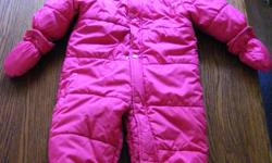 6-12 month snow suit. Detachable mitts and booties. In excellent condition and from a smoke free home. If interested please email me Thanks