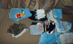 Carters, Baby Einstein Gap Old Navy H &M Disney   All name brands   Includes Sleepers, onesies, outfits, pants, shirts, bunting bag   More has been added since taking this picture!  It is all over flowing a large pampers box-to give you an idea of how