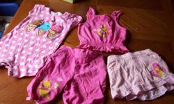 Disney pooh set, Pants, skirt with shorts under and a top all never warn size 6-12 months. also will give you a little tykes 1pc outfit as seen in the picture. from a smoke free home and all for $4.00