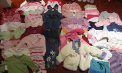 61 pieces of girls clothing.  Mostly 12 months.  A few smaller, a few larger.  Gently worn, good condition.  Also includes 4 pairs of shoes.  Size 5 and 5 1/2.  Asking $30 for the lot.