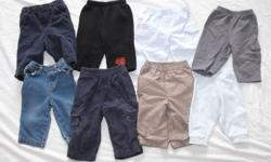 8 pairs of pants 10 sleepers 21 diaper shirts 4 shirts 6 hoodies 4 - 9month sleepers comes from a smoke free, pet free home asking $25 obo 960-3082
