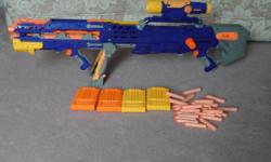I am selling 6 nerf guns, 15 suction bullets, 28 regular bullets and clips for $45. All working.
