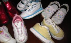 INFANT GIRLS SIZE 5 FOOTWEAR.INCLUDES 3 PAIR SNEAKERS(NEW YELLOW AIRWALKS) , 1 PAIR PRINCESS SANDALS , NEW BUSTER BROWN BLACK DRESS SHOES , NEW BURGUNDY BABY BOOTS LOW BOOTS.ALL IN EXC. CONDITION.ALL 6 PAIR FOR $25.00.