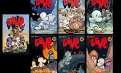 Enjoy our favourite 7 exciting Bone comic book novels for only $32. These adventure books will have you entertained for hours. Book Numbers: 1 - Out From Boneville 2 - The Great Cow Race 3 - Eyes of the Storm 6 - Old Man's Cave 7 - Ghost Circles 9 - Crown
