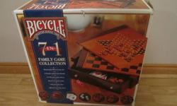 High quality. Still in box.  7 games in 1 set! Chess, checkers, backgammon, chinese checkers, 2 decks of cards.  Check out my other ads.