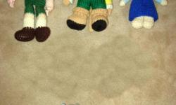 1st pic - 5 knitted dolls L to R ? top row: 14 in. long puppet, 11 in. long cat-like, 8 in. long girl; $2 each ? bottom row: two 7 in. long bears; $1 each 2nd pic - 3 new Amish dolls, still in their plastic bags ? one 14 in. long man (was $6 + tax new);