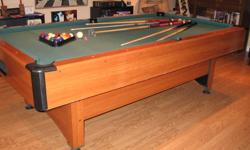 For sale is a 8' Mizerak pool table. This is not a slate top table. Comes with 1 set of balls,rack,que chalk,rake and 4 ques. The table has ball return and is covered in green nylon, not felt.It is a very fast table. This is not a pro table by any