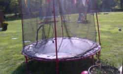 8ft trampoline. Kids outgrew so we bought a larger one. About 6 years old. We used to dismantle every year until last year. Padding around springs is shot and needs to be discarded or replaced (they are available on line). Safety net has seen better days