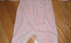 3 Sleepers sized 9 months pic 1 size 9 mos $2- EUC The Children's Place pink velour sleeper, with roses embroidered down the body. Snaps at back of the neck and at the crotch for easy changes. pic 2 size 9 mos- $1 EUC Woodland brand pink sleeper. Pink