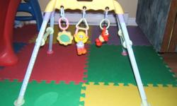A-frame toy that hangs over infant's face featuring sesame street characters and a mirror.  Toys are removable so you can change which spot they hang in or take them off to clean them.