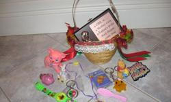 "This adorable little Wicker Basket is filled to over-flowing with Fun Things ...especially for those little ""angels ""in your family!....The ""little Girl Plaque"" is a must for the wall in her room!...Little Bears...funny key chains...ornaments..and a"