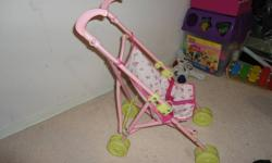 kids love to push this stroller with their doll or stuff in it. my girl outgrown it. very good condition played with it only inside the house. from smoke free/pet free home