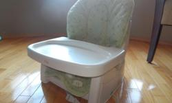 Feeding chair straps to another chair (chair strap is included). Back is adjustable and cover is removable (without any stains). Cover is machine washable. Waist straps are slightly stained from use but in great working order. Tray is removable for easy