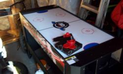 All put together great shape works great just release clips flip table over for either pool or air hockey 2feet wide by 4ft long roughly, all pool balls 2 cues air hockey paddles disks are all included just plugs in for the air hockey just dont use