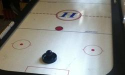 Air hockey Table, pucks and paddles in good condition. 3 ft by 6 ft. Lots of fun!