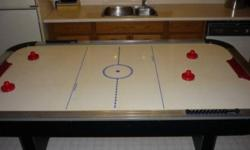 Ambassador Air Hockey Table by Harvard great for the games room. High quality & durability - approx 7 ft long by 4 ft wide x 3.5 ft high - removable legs for easy moving & storage Comes with: - 4 game strikers - multiple pucks of various shapes and sizes
