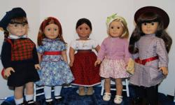 """Just in time for Christmas"" huge quanity of new and new to you American girl dolls plus many outfits and accessories. ""Just Like You"" dolls, pick your own hair and eye color. ""Limited Edition"" dolls, these were available for one year and then AG retires"
