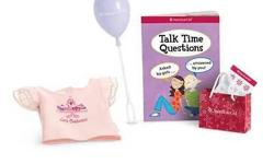 This is the goody bag from the american girl store party. New in package. Comes with a tee shirt, a balloon for the doll, a book, stickers and a doll size bag.super cute!