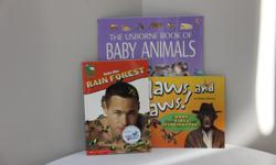 Titles * Claws & Jaws - a must have book of interesting facts for all dinosaur lovers. * Into the Rainforest - facts about creatures of the rainforest. * Usborne Book of Baby Animals - simple facts about children's favourite animals. Brand new.