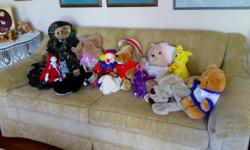 A large variety of clean, stuffed animals, most never played with. Dakin, Russ, Gund, Ty, Wrinkles pj bag, Pound Puppies, alligator, moose, camel, lions, monkeys, musical dog, Heart to Heart bear with beating heart, Talina covers her eyes, Dole Bananaroo,