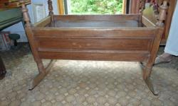 "ANTIQUE BABY WOODEN CRADLE CRIB 36"" LONG BY 19"" W"