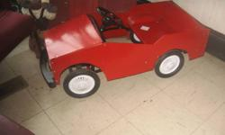 See Photos:   Cash payment only, accepted 1) This featured vintage Miniture Car is fully operational,  includes a working steering wheel and paddle /pedal styled foot gears that propel car forward or backwards. also Features fire engine red and black