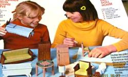 ARROW DREAM DOLL HOUSE FURNITURE KIT 1978 as I received it and appears all unused.. the wood parts are all intact and not separated.. sandpaper is accounted for and the original paint for painting these dollhouse furnitures but could easily be unuseable