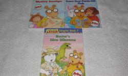 These JUNIOR Chapterbooks are in BRANDNEW condition and are $2.00 each **SPECIAL: BUY ALL 3 BOOKS FOR $5.00** ARTHUR SERIES by Marc Brown (RL 3.1 - 3.4) #1 - Arthur's Mystery Envelope #2 - Arthur and the Scare-your-Pants-off Club #7 - Buster's Dino