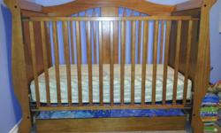 Aspen Storkcraft 3 in 1 convertible crib Has a drawer underneath great for storing extra bedding. Converts from a crib to a toddler day bed. Aspen Storkcraft Changetable - has one drawer and two shelves. Will sell together or separetly. Please email or