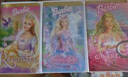 The following titles are DVDs - $5 each Barbie Fairy 3-pack (Barbie Fairytopia, Barbie Mariposa, Barbie Thumelina) - $7 Barbie Princess Charm School Barbie, A Fairy Secret Barbie, A Mermaid Tale 2 Dance to the Music - 2 hours of fun Children's Favorites