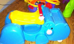 Our son has outgrown some of these toys and it's time to pass the fun on to another family/child. All are in excellent condition. Fisher Price Peek-a-Blocks Gobble & Go (ride on/walker) - $10 Fisher Price Go Baby Go Poppity Pop Dino - $10 Fisher Price