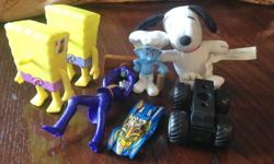 Smurf figurine, 2 Sponge Bobs (minus faces!), etc. Sorry, Snoopy is sold!