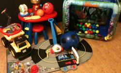 Child growing out of toys, making room for new ones, lot includes:   - Shake and go race track - Finding Nemo Ball Pit - Hot Wheels track - Assorted Balls - Push Popper - Ride-on Tonka Truck (with sounds) - Fisher Price Little People Farm - Crayloa Arts