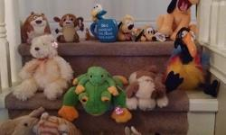I have a variety of stuffed animals for sale. All look brand new and have tags still attached. Assorted beanie babies and Disney store stuffies. I am asking $5 for small beanie babies, 7 for large beanie babies and $10 for any Disney store items. $5 for