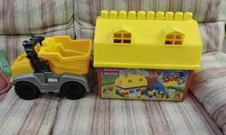large bag of large legos truck and puppet can deliver to regina and barn