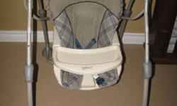 Safety 1st Baby Swing $40 OBO -5 speeds, 5 songs, 5 sounds -adjustable heights -beige/grey/navy Infant bath tub with sling $10 OBO -soft foam on bottom -temperature indicator 3 Swaddlers from BabiesRUs $15 OBO -brand new, used 5 times, baby outgrew them