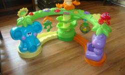 1. Monkey, elephant, hippo ball toy. Has 3 different song's and light's up. $25.00. 2. Zebra bounce and spin. Light's up and sing's. $20.00. 3. Leap frog table. Sing's number's and shapes and light's up. $20.00. 4. Fisher price stand and play unit.